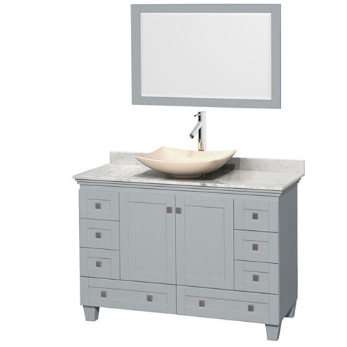 Acclaim 48 inch Single Bathroom Vanity with WhiteCarrera Marble Countertop and Arista Ivory MarbleSink