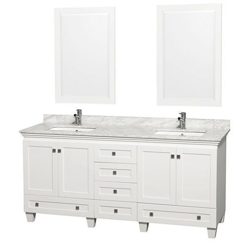 Acclaim 72 inch Double Bathroom Vanity with WhiteCarrera Marble Countertop and Undermount Square Sinks