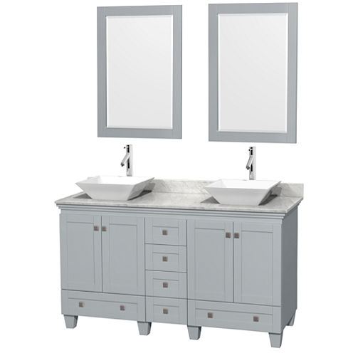 Acclaim 60 inch Double Bathroom Vanity with WhiteCarrera Marble Countertop and Pyra White PorcelainSinks