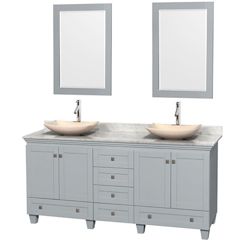 Acclaim 72 inch Double Bathroom Vanity with WhiteCarrera Marble Countertop and Arista Ivory MarbleSinks