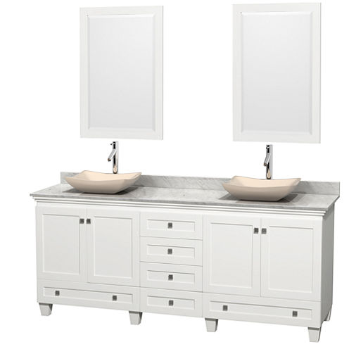 Acclaim 80 inch Double Bathroom Vanity with WhiteCarrera Marble Countertop and Avalon Ivory MarbleSinks