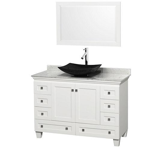 Acclaim 48 inch Single Bathroom Vanity with WhiteCarrera Marble Countertop and Arista Black GraniteSink
