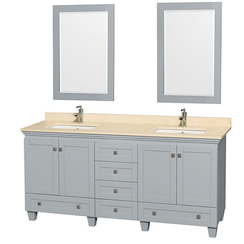 Acclaim 72 inch Double Bathroom Vanity with IvoryMarble Countertop and Undermount Square Sinks