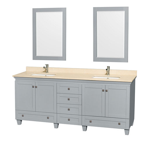 Acclaim 80 inch Double Bathroom Vanity with IvoryMarble Countertop and Undermount Square Sinks
