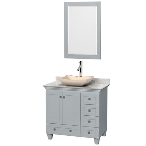 Acclaim 36 inch Single Bathroom Vanity with WhiteCarrera Marble Countertop and Avalon Ivory MarbleSink