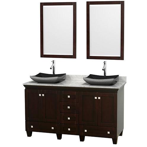 Acclaim 60 inch Double Bathroom Vanity with WhiteCarrera Marble Countertop and Altair Black GraniteSinks