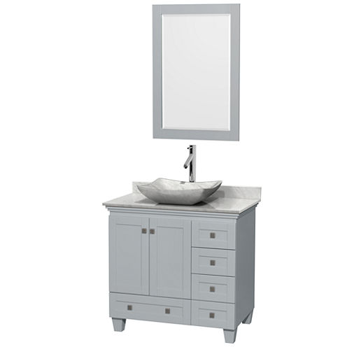 Acclaim 36 inch Single Bathroom Vanity with WhiteCarrera Marble Countertop and Avalon White CarreraMarble Sink