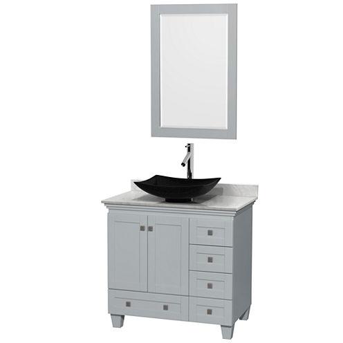 Acclaim 36 inch Single Bathroom Vanity with WhiteCarrera Marble Countertop and Arista Black GraniteSink