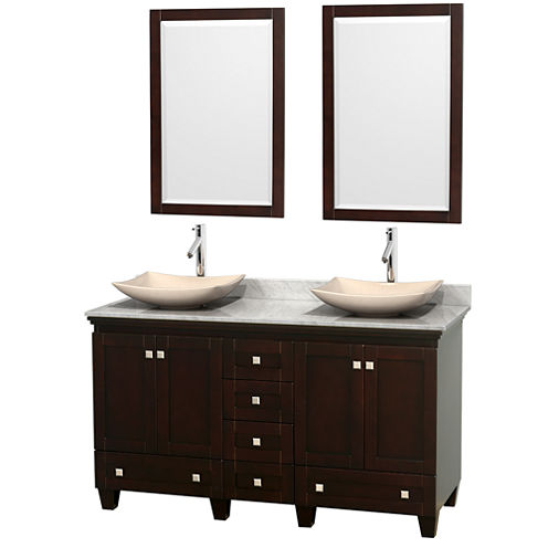 Acclaim 60 inch Double Bathroom Vanity with WhiteCarrera Marble Countertop and Arista Ivory MarbleSinks
