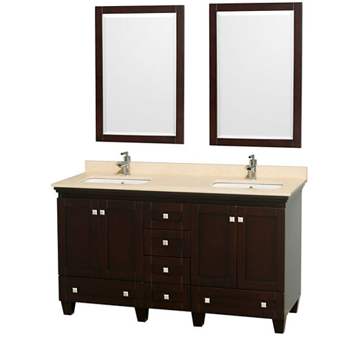Acclaim 60 inch Double Bathroom Vanity with IvoryMarble Countertop and Undermount Square Sinks