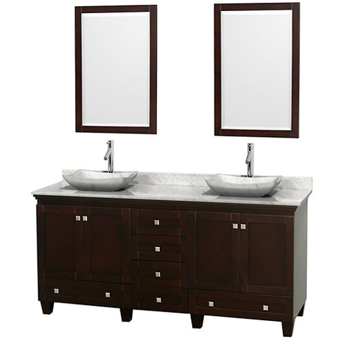 Acclaim 72 inch Double Bathroom Vanity with WhiteCarrera Marble Countertop and Avalon White CarreraMarble Sinks