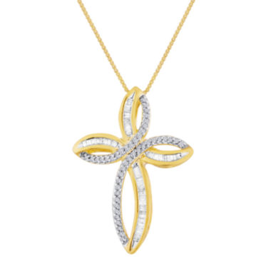 jcpenney.com | 1/3 CT. T.W. Diamond 14K Yellow Gold Over Sterling Silver Cross Pendant Necklace