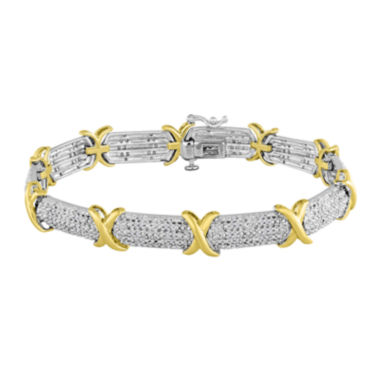 jcpenney.com | 1/2 CT. T.W. Diamond Two-Tone X Bracelet