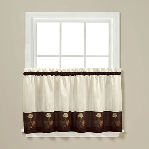 Rose Two-Tone Rod-Pocket Window Tiers