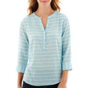 St. John's Bay® 3/4-Sleeve Gauze Popover Top- Petite