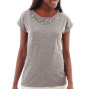 Stylus™ Short-Sleeve Embellished Novelty T-Shirt - Tall