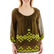 Stylus™ 3/4-Sleeve Embroidered Gauze Peasant Top- Petite