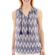Stylus™ Sleeveless Chevron Print Tassle-Tie Top - Tall