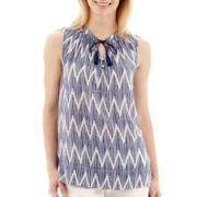 Stylus™ Sleeveless Chevron Print Tassel-Tie Top- Petite