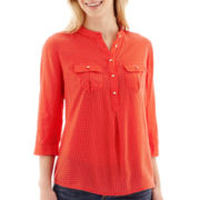 Stylus™ 3/4-Sleeve Popover Peasant Top - Tall