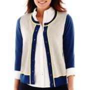 Stylus™ 3/4-Sleeve Crewneck Cardigan Sweater-Petites