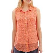 Liz Claiborne® Sleeveless Campshirt