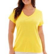 St. John's Bay® Short-Sleeve V-Neck T-Shirt - Plus
