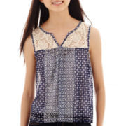 Ransom Crochet-Yoke Print Tank Top