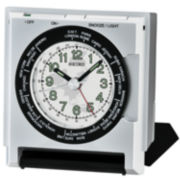 Seiko® Travel Alarm With World Time Bezel And Dial Light Silver Tone Clock Qhe116slh