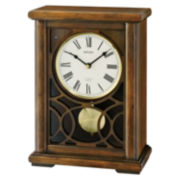 Seiko® Mantel Clock With Pendulum And 12 Hi Fi Melodies Brown Qxw236blh
