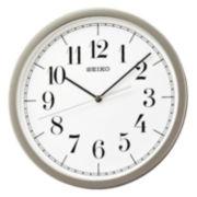 Seiko® White Dial Wall Clock With Silver-Tone Case Qxa636slh