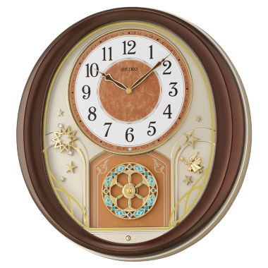 jcpenney.com | Seiko® Melodies In Motion Wall Clock With Brown Metallic Case Qxm553brh