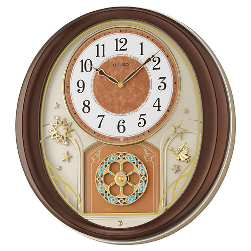 Seiko® Melodies In Motion Wall Clock With Brown Metallic Case Qxm553brh