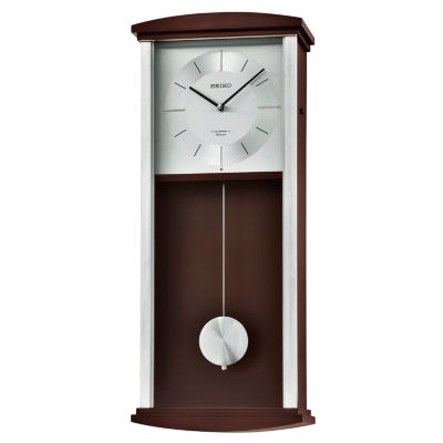 Seiko Brown Wooden Wall Clock with Pendulum Melodies Chime