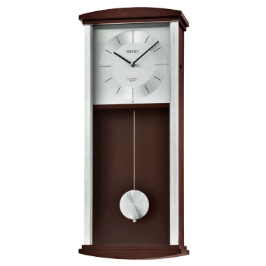 jcpenney.com | Seiko® Brown Wooden Wall Clock with Pendulum, Melodies & Chime Qxm555blh
