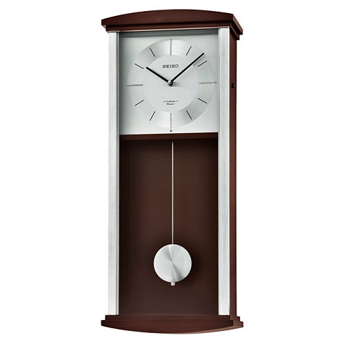 Seiko® Brown Wooden Wall Clock with Pendulum, Melodies & Chime Qxm555blh