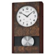 Seiko® Wall Clock With Pendulum Brown Qxm359blh