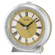 Seiko® Two Tone Metallic Case Bedside Alarm Clock Qhe132glh