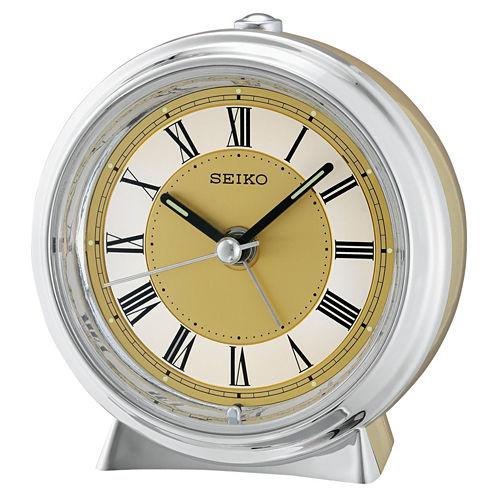 Seiko® Two Tone Metallic Case Bedside Alarm ClockQhe132glh