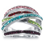 Fashion Carded Rings Multi Color Crystal Cocktail Ring