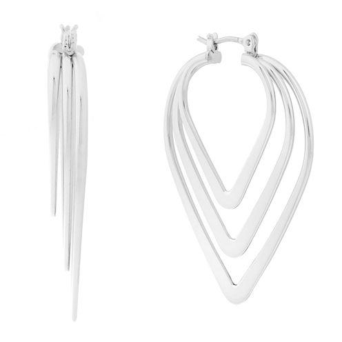 Liz Claiborne® Silver-Tone Triple Pointed Hoop Earrings