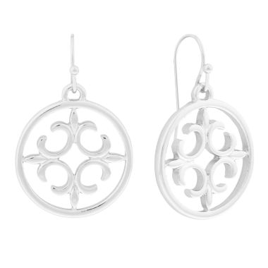 jcpenney.com | Liz Claiborne® Silver-Tone Round Drop Earrings