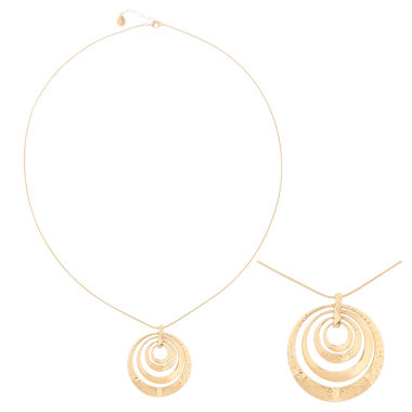 jcpenney.com | Liz Claiborne® Long Hammered Gold-Tone Pendant Necklace