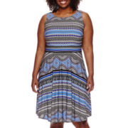 Danny & Nicole® Sleeveless Printed Fit-and-Flare Dress - Plus