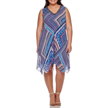jcpenney.com | Studio 1® Sleeveless Embellished-Neck Handkerchief Dress - Plus
