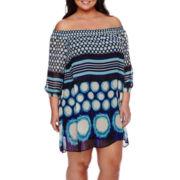 ECI Off-the-Shoulder Dot Stripe Sheath Dress - Plus