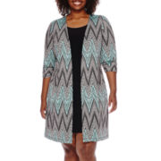 Perceptions Elbow-Sleeve Chevron Jacket Dress - Plus