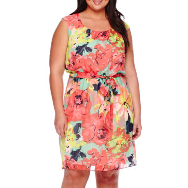 jcpenney.com | Robbie Bee® Cap-Sleeve Belted Floral Chiffon Blouson Dress - Plus