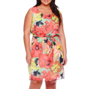 Robbie Bee® Cap-Sleeve Belted Floral Chiffon Blouson Dress - Plus