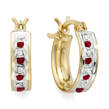 jcpenney.com | Lead Glass-Filled Ruby & Diamond Accent 18K Gold Over Silver Hoop Earrings